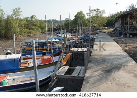 Fisherman boat parking before went fishing