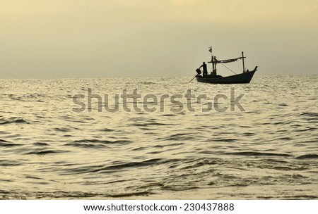 Fisherman Boat with sunset sky environment - stock photo
