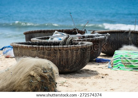 Fisherman boats at Mui Ne beach ,Vietnam