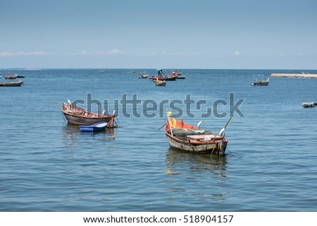 Fisherman boats, Fishing boats of Thailand, Sunny and Blue Sky