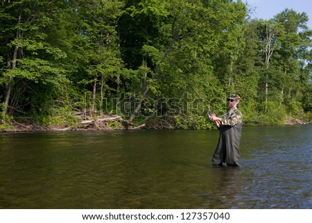 Fisherman catches of salmon in the river. - stock photo