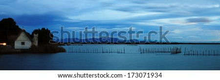 Fisherman chapel in La Albufera lake.Panorama.Valencia,Spain. - stock photo