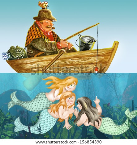 Fisherman fell asleep in a boat while mermaids smiling on him underwater - stock photo