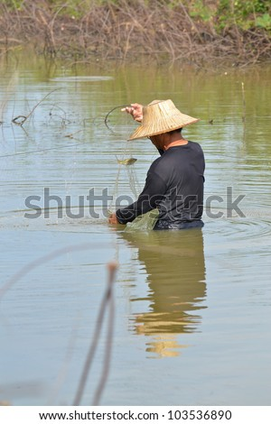 fisherman hunting fish in countryside pond by purse seine of Thailand southeast asia