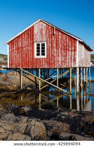 Fisherman hut on stilts in the Lofoten Islands in Norway