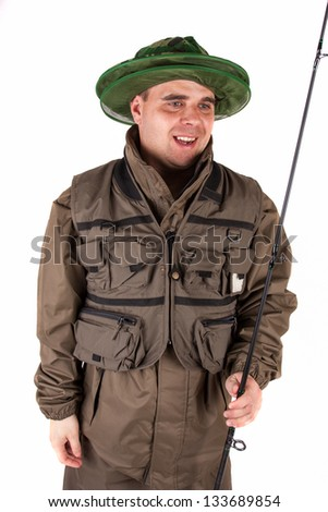 Fisherman  isolated - stock photo