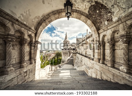 Fisherman's Bastion. Budapest city. Hungary - stock photo