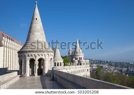 Fisherman's Bastion is a terrace in neo-Gothic and neo-Romanesque style, Budapest famous landmark