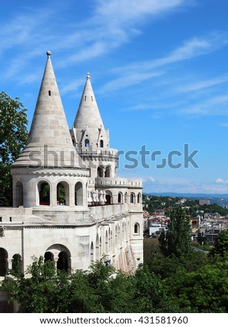 Fisherman's Bastion on the Castle Hill on the bank of Buda side of Danube River, Budapest - stock photo