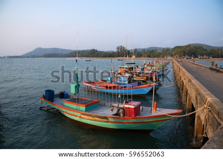 Fisherman's boats parked in the sea