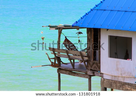 Fisherman's house in Thailand - stock photo