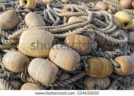 Fisherman's net and fishing stuff  - stock photo
