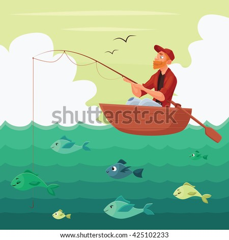 Fisherman sitting in the boat, illustration multyashnaya comical, red bearded man seated fisherman with a fishing rod in the boat on the river, hunting for fish, fishing on the water