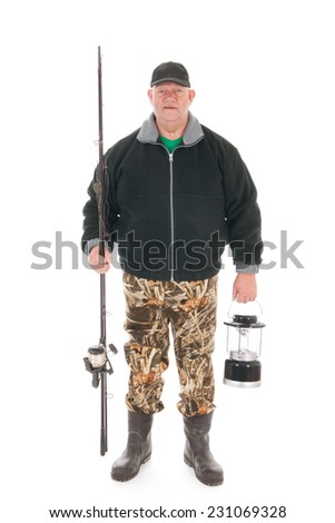 Fisherman standing full body isolated over white background
