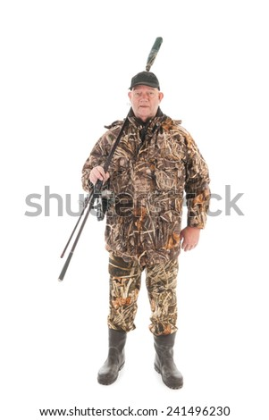 Fisherman standing full body isolated over white background - stock photo
