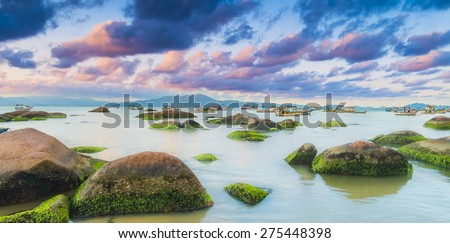 Fisherman village on South of Brazil. Atlantic Ocean have a tropical scene and on this place is no different. The clouds and the sunlight on this photo were a gift.