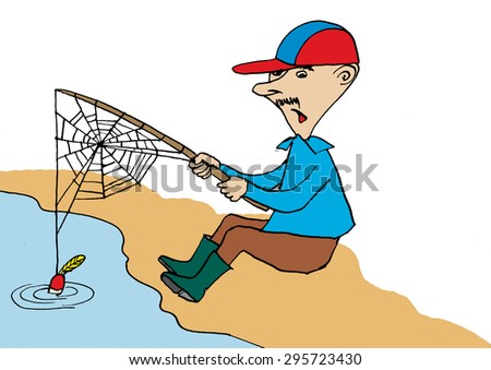 Fisherman waiting for fishes.Cartoon - stock photo