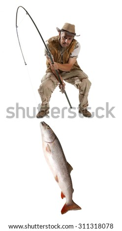 Fisherman with big fish - salmon isolated on white - stock photo