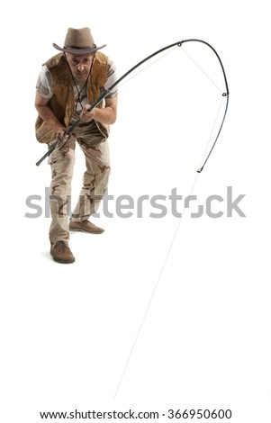 Fisherman with spinning isolated on white - stock photo