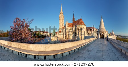 Fishermans Bastion and church in Budapest, Hungary - panorama - stock photo