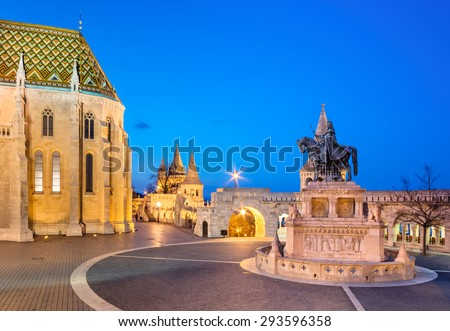 Fishermans Bastion in Budapest, Hungary in the evening. Focus on the horseman statue. - stock photo