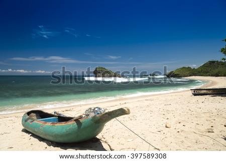 Fishermans ship at Watu Karung beach, Pacitan, Java, Indonesia - stock photo