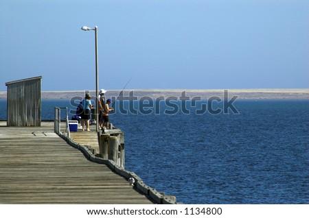 Fishermen at Pt. Victoria - stock photo