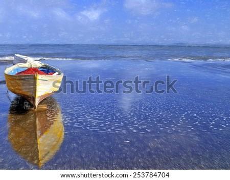 fishermen boat on beach  - illustration based on own photo image - stock photo