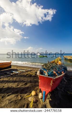 fishermen boat on Dominica, caribbean sea - stock photo