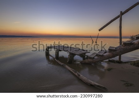 Fishermen bridge at sunset - stock photo