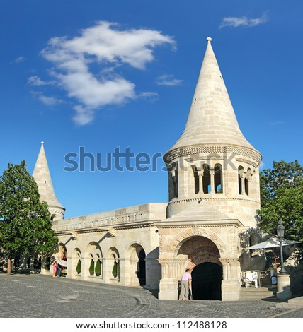 Fishermen's bastion in Budapest, Hungary, World Heritage Site by UNESCO - stock photo