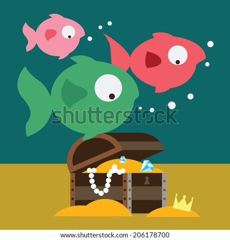 Fishes and chest with gold Raster version - stock photo