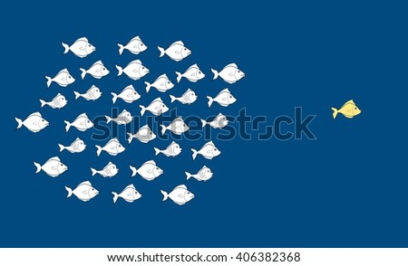 Fishes in leadership concept - stock photo
