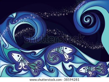 fishes in wavy sea