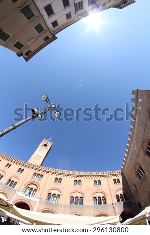 fisheye lens on Piazza dei Signori, Treviso, Italy - stock photo