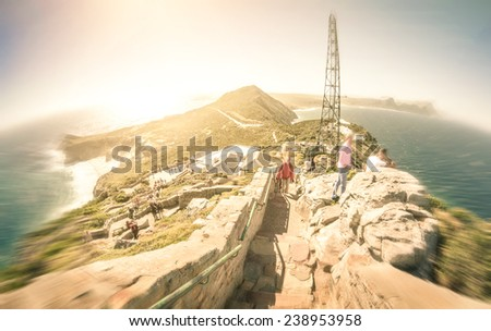 Fisheye panorama of Cape of Good Hope near Cape Town in South Africa - Radial zoom defocusing with retro nostalgic filtered look - stock photo