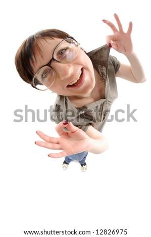 Fisheye portrait of woman in big glasses - stock photo
