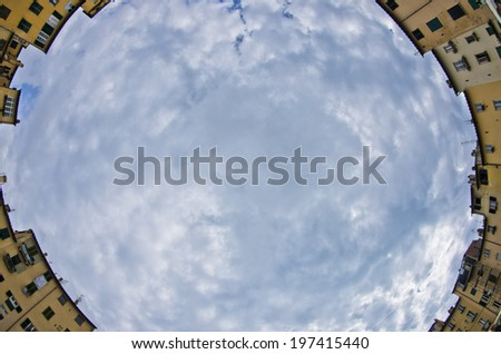 Fisheye view of a main square Piazza Amphiteatro in Lucca, Tuscany, Italy - stock photo