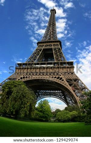 Fisheye view of Eiffel tower - stock photo
