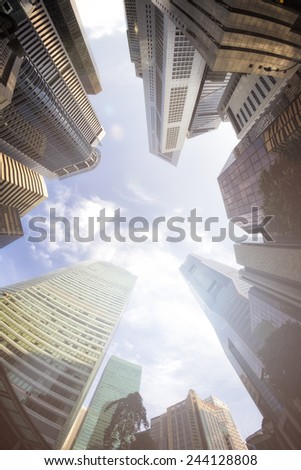 Fisheye View of Modern Buildings. Business Concept - stock photo