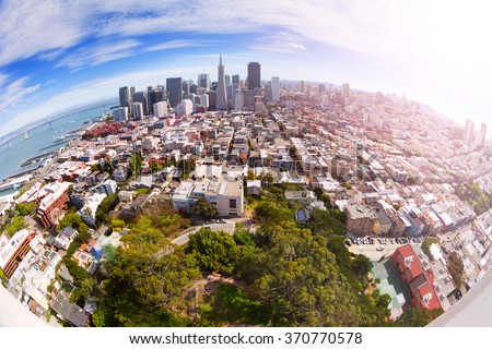 Fisheye view of San Francisco panorama from hill - stock photo
