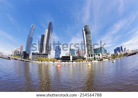Fisheye view of Southbank area in Melbourne in the daytime - stock photo