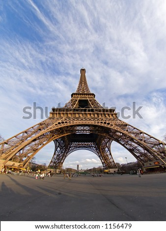 Fisheye view of the Eiffel tower - Paris, France
