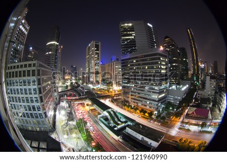 Fisheye with world economic concept, Cityscape - stock photo
