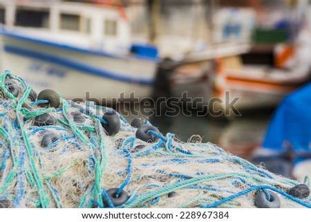 Fishing,and boats - stock photo