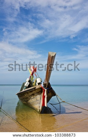 Fishing boat and blue sky.