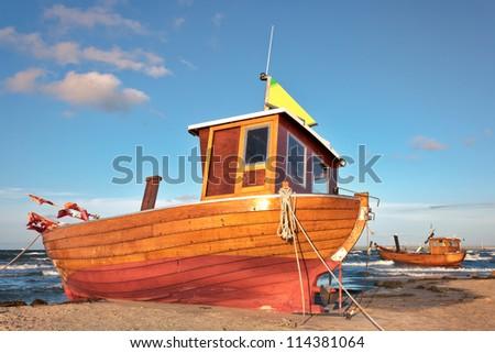 Fishing Boat at Baltic Sea Beach of Usedom Island, Germany - stock photo