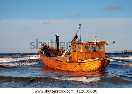 Fishing Boat at Baltic Sea Coast of Usedom Island, Germany - stock photo