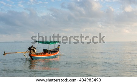 Fishing boat at Thong Ching beach, Khanom, Nakornsrithammarat, Thailand,(Un-focus image)
