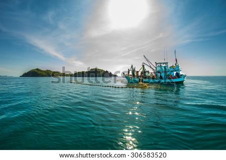 Fishing boat   , Beautiful landscape - stock photo